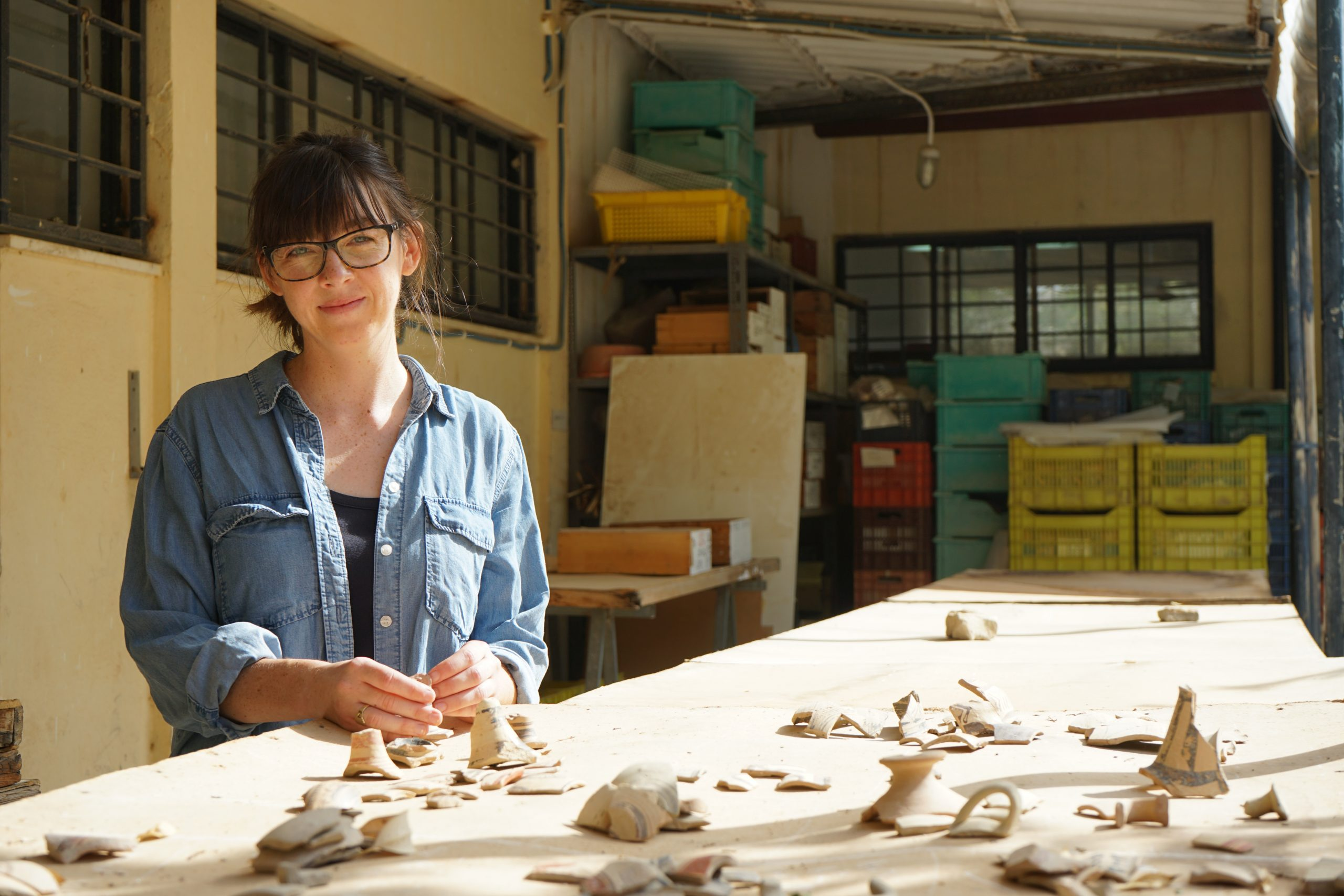 Alice Crowe working in the Strat Museum, Knossos