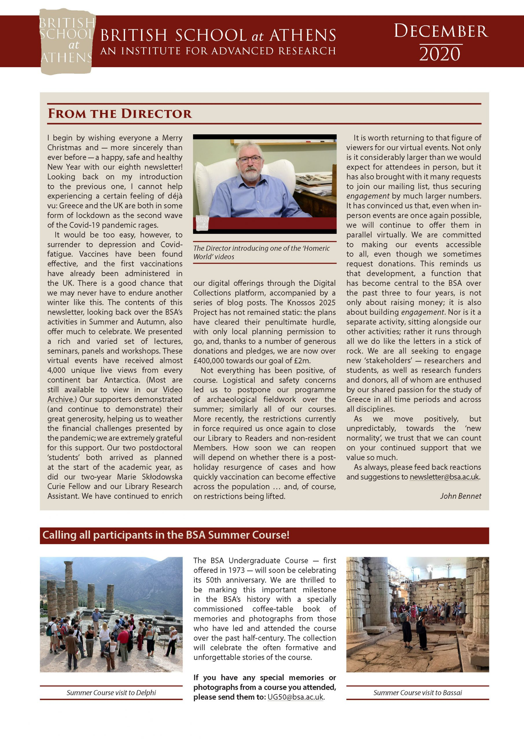 BSA December 2020 Newsletter front matter