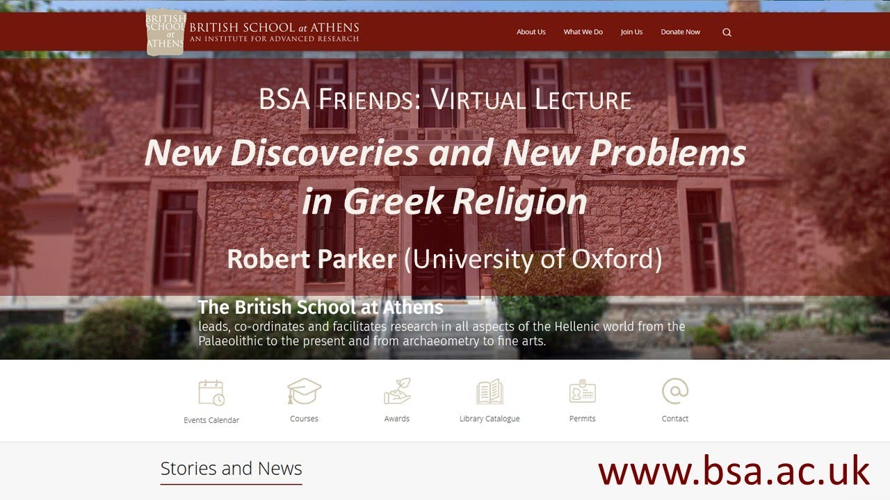 "Robert Parker, ""New Discoveries and New Problems in Greek Religion"""