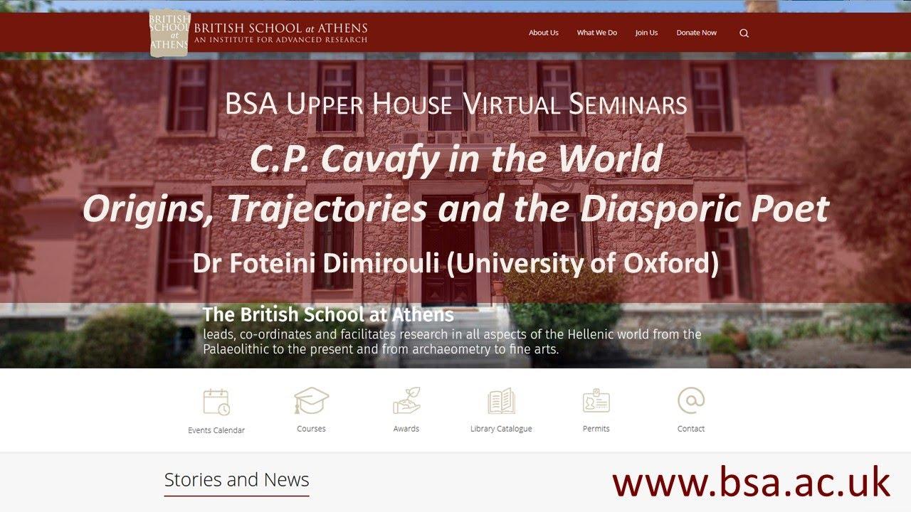 "Foteini Dimirouli, ""C.P. Cavafy in the World: Origins, Trajectories and the Diasporic Poet"""