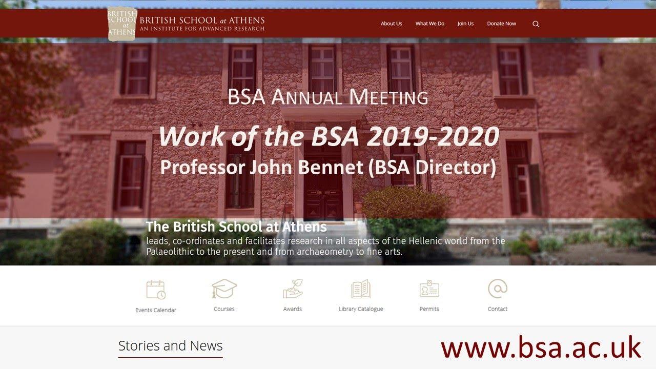 """John Bennet, """"Work of the BSA 2019-2020"""""""