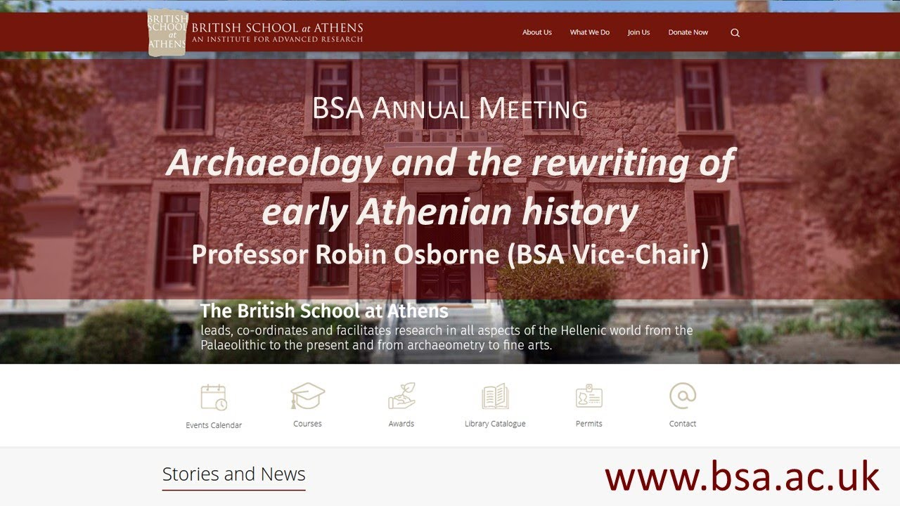 """Robin Osborne, """"Archaeology and the rewriting of early Athenian history"""""""