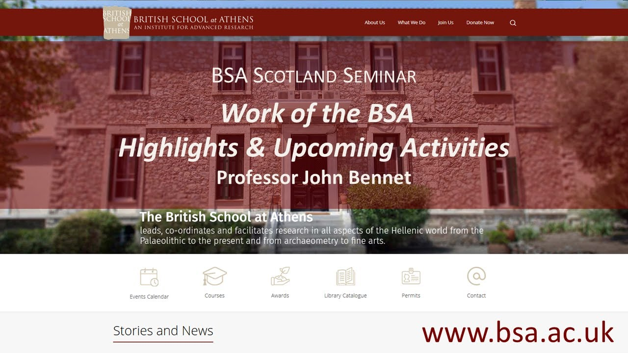 """John Bennet, """"Work of the BSA - Highlights and Upcoming Activities"""""""