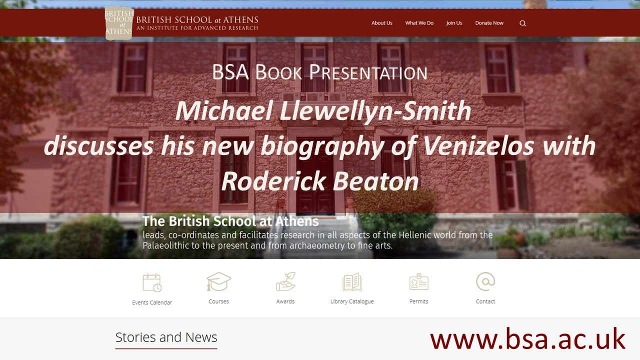Michael Llewellyn-Smith discusses his new biography of Venizelos with Roderick Beaton