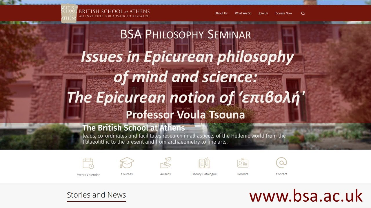 """Voula Tsouna, """"Issues in Epicurean philosophy of mind and science 1: The Epicurean notion of 'επιβολή'"""""""