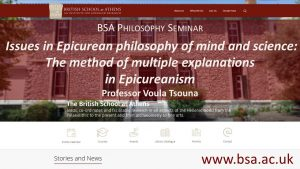 """Voula Tsouna, """"Issues in Epicurean philosophy of mind and science 2: The method of multiple explanations in Epicureanism"""""""