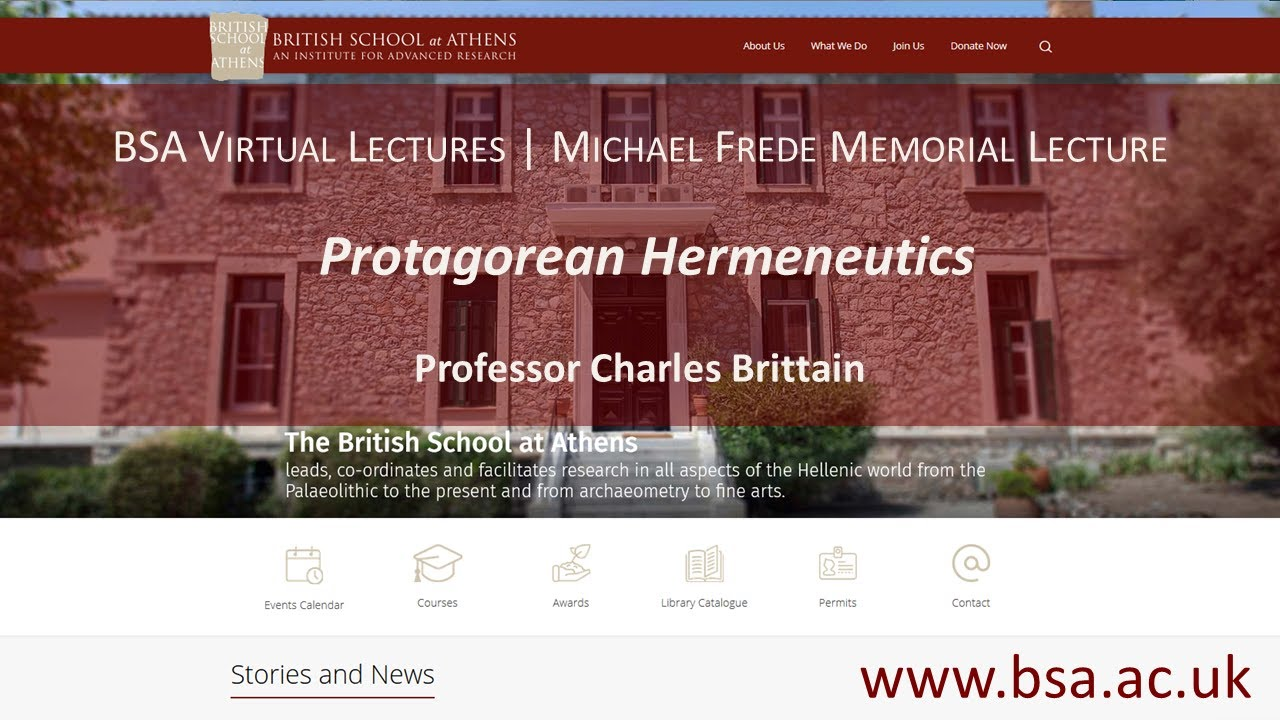 "Professor Charles Brittain, ""Protagorean Hermeneutics"""