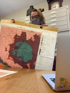 Emily with a coloured 1958 map